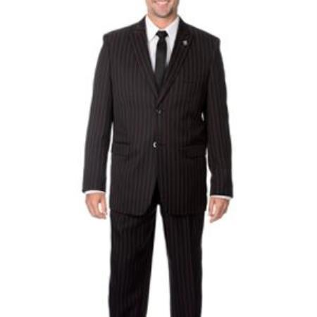Liquid Jet Black with red color shade Stripe Mens Suit, act now only $170.00
