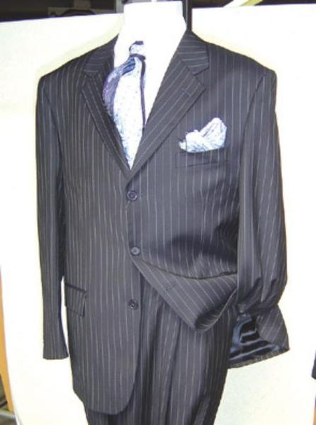 Mens Black Pinstripe Three Buttons Fabric Suit, act now only $109.00
