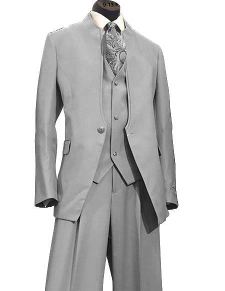One Butoon Mens Grey Vested Mandarin Suit, act now only $165.00
