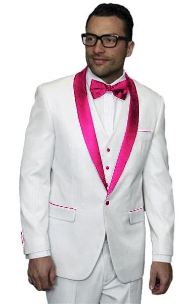 One Button Pink Tux Jacket Vested Wedding Mens Suit, act now only $300.00