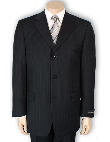 Mens Three Button Style Black Pinstripe Light Weight Suit, act now only $109.00