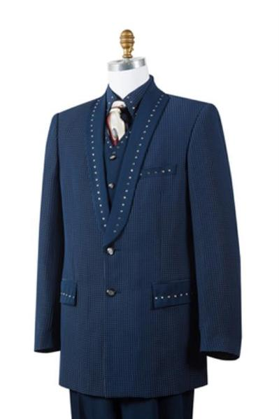 Mens Two Button Navy Peak Lapel Sharkskin Suit, act now only $175.00
