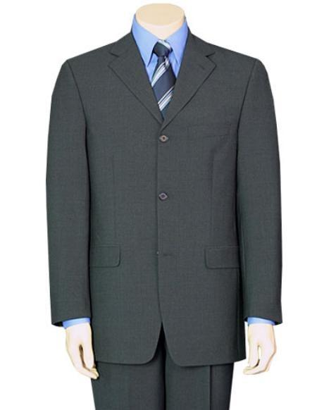 Mid Gray Pure Wool Fabric Three Button Suit For Mens, act now only $109.00