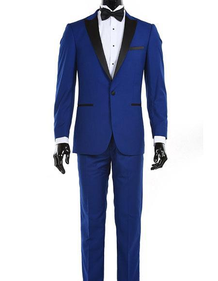 One Button Single Breasted Royal Blue Mens  Tuxedo, act now only $150.00