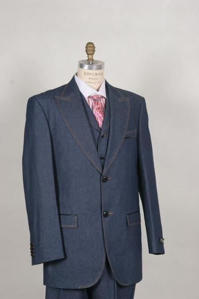 Mens Two Button Blue With Pleated Pants Suit, act now only $175.00