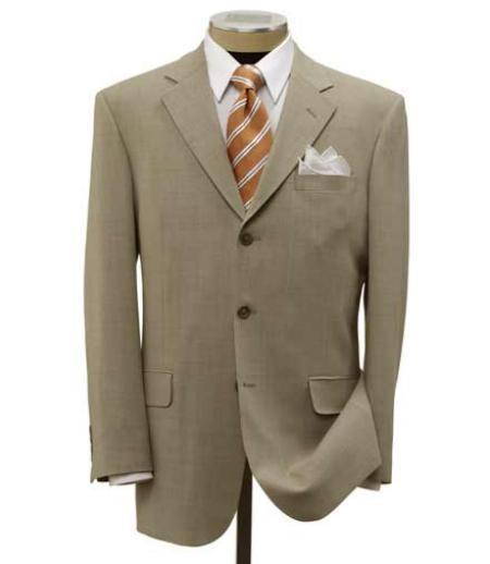 Mens Three Button Style Ultra Smooth Stretch Tan Beige Suit, act now only $109.00