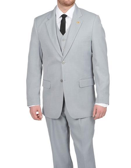 Two Button Silver Grey Notch Lapel Vested Mens Suit, act now only $185.00
