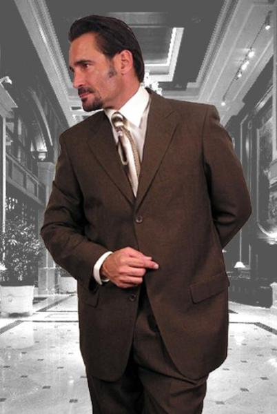 Mens Three Button Style Superior Fabric Suit In Brown, act now only $149.00