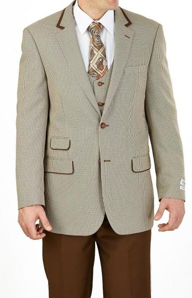 Two Button Taupe Tan Beige HoundStooth Mens Suit, act now only $160.00