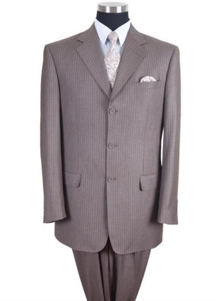 Two Button Style Tan Beige Pinstripe Suit For Mens, act now only $110.00