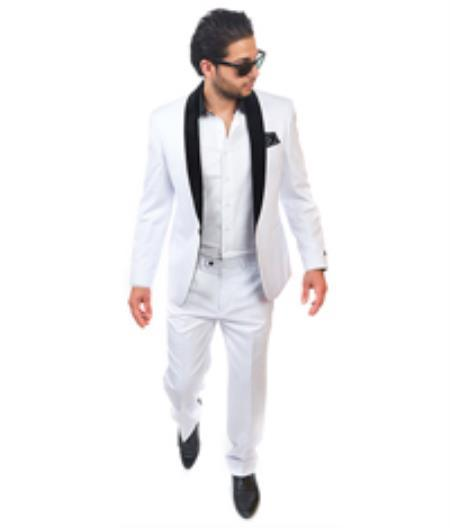Men's One Button White Shawl Collar Slim Fit Suit, act now only $299.00