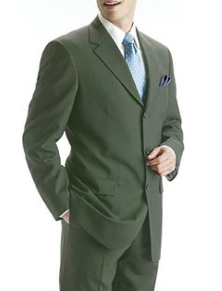 Olive Green Mens Pure Wool Fabric Three Button Suit, act now only $109.00