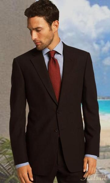 Brown color shade Pleated Pant Classic Relax Fit Suit, act now only $199.00