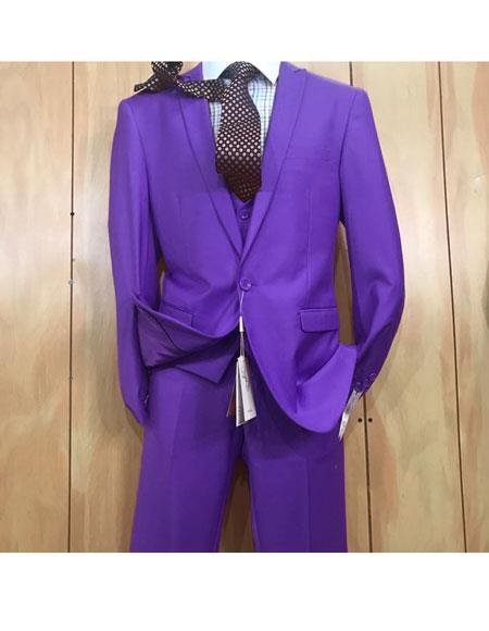 One button style Single Breasted Purple Mens Suit, act now only $175.00