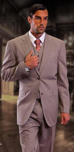 Two Button Style Beige Superior Side Vents Mens Fabric Suit, act now only $175.00