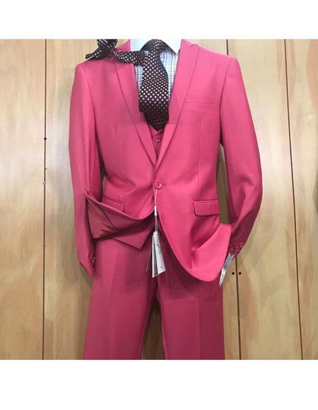 One button style Peak Lapel Hot Pink Mens Slim Fit Suit, act now only $175.00