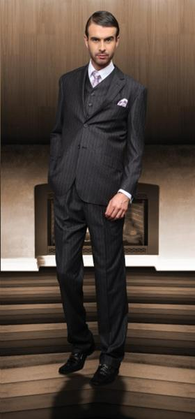 Two Button Style Notch Lapel Mens Dark Grey  Italian Suit, act now only $175.00