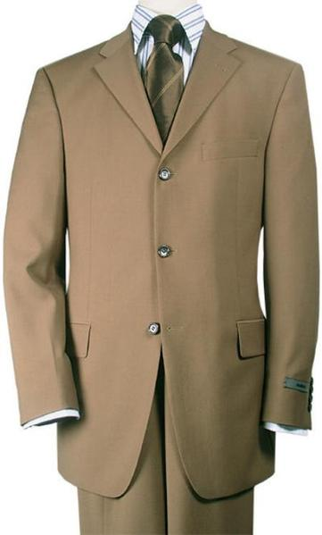 Mens Camel Italian Wool Fabric Feel Suit, act now only $125.00