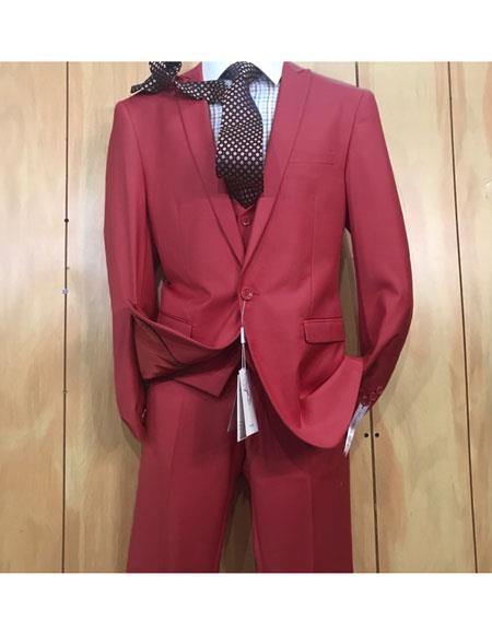 One button style Single Breasted Burgundy Mens  Suit, act now only $175.00