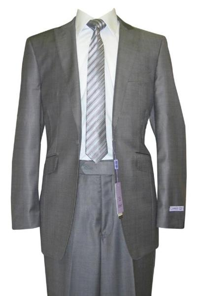 Grey Sharkskin Wool  Flat Front Fitted Mens Suit, act now only $160.00