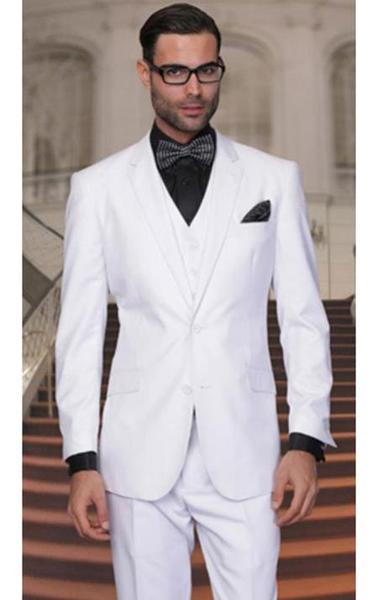 Two Buttons Solid White Side Vented Vested Mens Suit, act now only $175.00