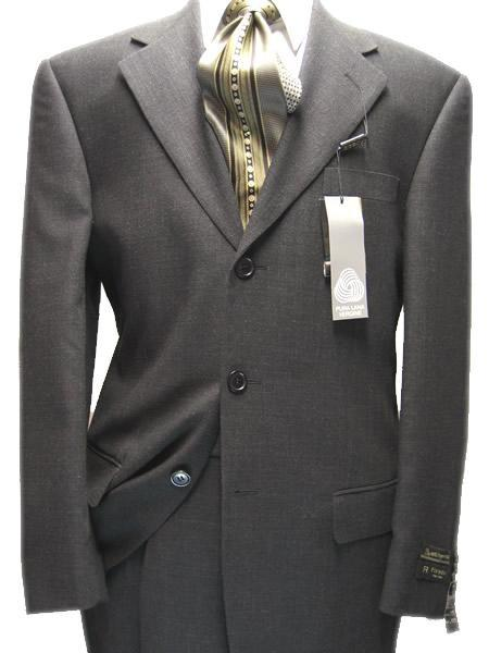 Mens Dark Grey Three Button Style Wool Fabric Suit, act now only $139.00