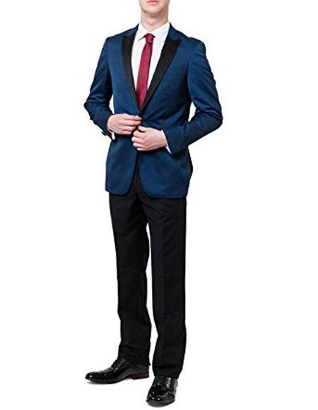 One Button Blue Two Toned Regular Fit Mens Suit, act now only $160.00