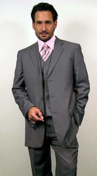 Mens Three Button Style Grey Wool Three Piece suit, act now only $139.00
