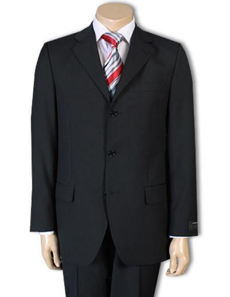 Mens Three Button Style Liquid Jet Black Light Weight Suit, act now only $139.00