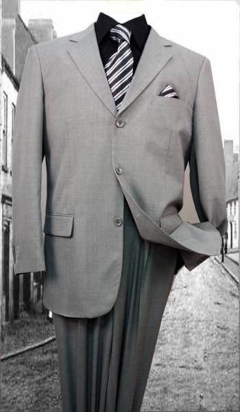 Mens Superior Fabric Gray Solid Color Suit, act now only $79.00