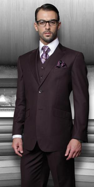 Dark Purple Side Vented Regular Fit Suit For Mens , act now only $175.00