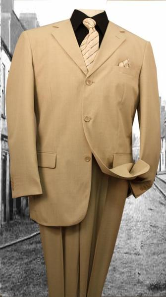 Mens Beige Solid Color Single Breasted Suit, act now only $125.00