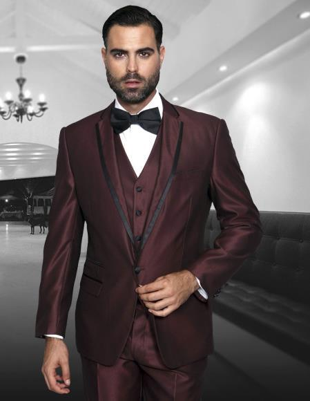 One Button Burgundy Notch Lapel Modern Fit Mens Suit, act now only $175.00