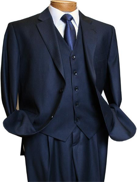 Mens 3 Piece Navy blue Mini Pinstripe Italian Design Suit, act now only $160.00