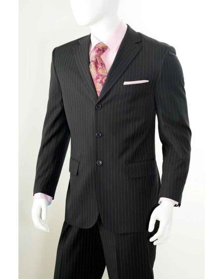 Black Three Button Style Mens Liquid Jet Pinstripe Suit, act now only $110.00