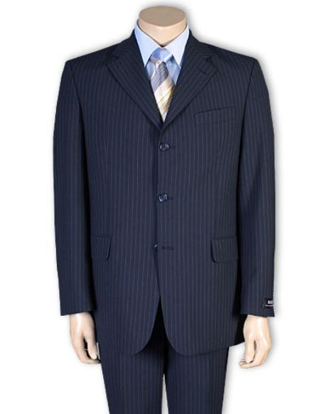 Mens Three Button Navy Blue Shade Pinstripe Suit, act now only $109.00