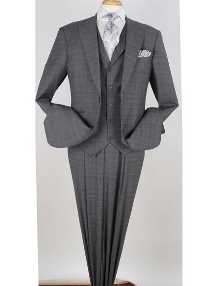 Two Button Mens Wool Peak Lapel Suit In Grey, act now only $175.00