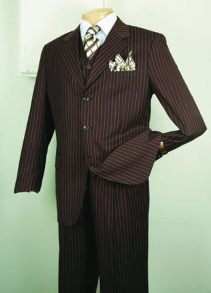 Brown Three Button Style Mens Pinstripe Suit, act now only $149.00