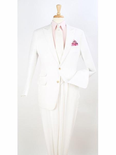 Two Button Style Peak Lapel White Suit For Mens, act now only $199.00