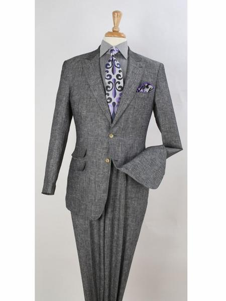 Mens Two Button Style Peak Lapel Suit In Black, act now only $199.00