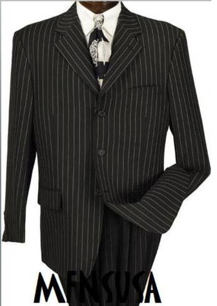 Mens Three Buttons Liquid Jet Black & Chalk White Pinstripe Suit, act now only $139.00