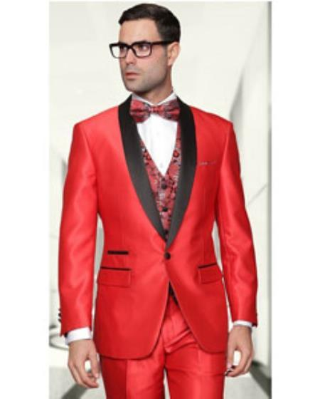 One Button Mens Red Three Piece Sharkskin Suit, act now only $225.00
