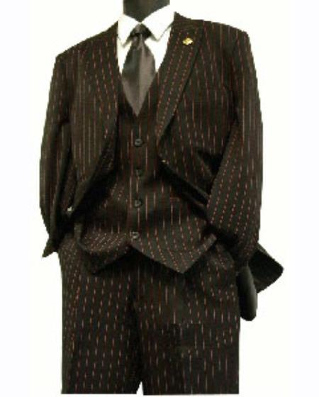 Mens Three Button Black and red color Stripe Zoot Suit, act now only $159.00