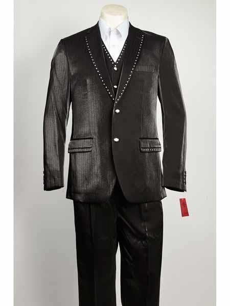 Two Button Liquid Jet Black Color Suit For Mens, act now only $199.00
