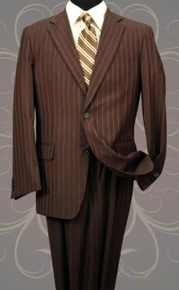Mens Brown Three Button Style Pinstripe Suit, act now only $139.00