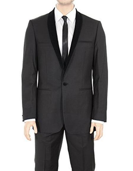 One Button Solid Black Shawl Lapel Regular Fit Mens Suit, act now only $199.00