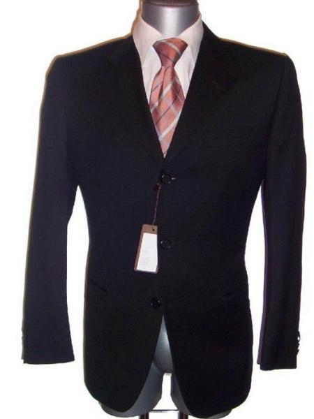 Liquid Jet Black Fabric Wool Suit For Mens, act now only $139.00