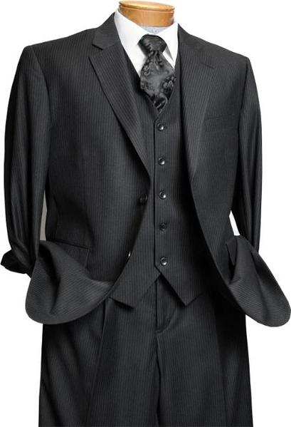 Mens 3 Piece Black On Black Tone on Tone Shadow Stripe Design three piece suit, act now only $149.00