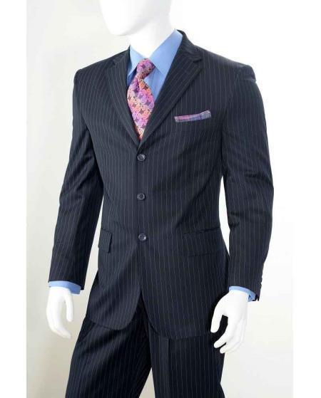 Mens Navy Three Button Style Notch Lapel Suit, act now only $110.00