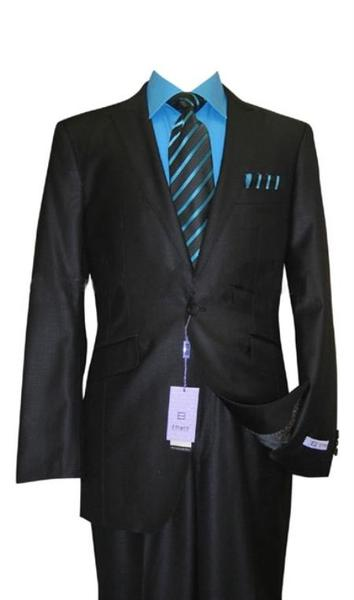 Black Sharkskin Wool  Flat Front Fitted Mens Suit, act now only $160.00